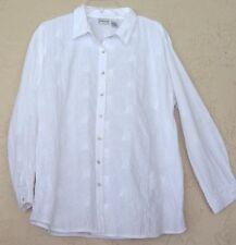 Chico's Sz 3 L/XL 1X White Textured Long Shirt Blouse Tunic Top PolyCotton16 18