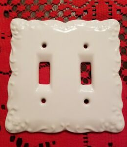 White Ceramic Porcelain Double Light Switch Wallplate Wall Plate Outlet Cover