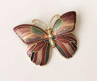Vintage cloisonne Butterfly  Brooch in enamel on Metal