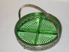 """8.5"""" Green Depression Glass Candy Mints serving tray bowl ornate metal stand"""