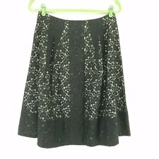 Talbots Lace Skirt 4 Black A-Line Pleated Lined