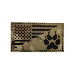 Reflective IR USA US Flag Service Dog K9 Paw Tactical Hook&Loop Patch Badge CP 2