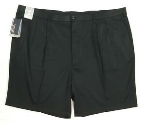 NWT Roundtree Yorke Travel Smart Black Pleated Front Men's Shorts Size T42, B52