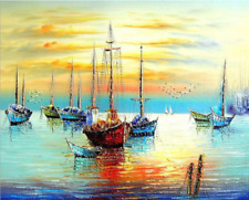 40*50CM Paint By Number Kit DIY Digital Oil Acrylic Painting on Canva fisherboat