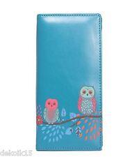 59022626689f1 Portemonnaie Geldbörse Börse Damen Vintage Knopfverschluß Eulen blau grün  50678