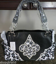 BEAUTIFUL FLEUR DE LIS  CHEETAH PRINT PURSE/HANDBAG- BLACK
