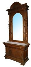 Large Antique Carved American Victorian Mirrored Hall Stand with Marble Top #153