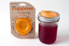 USA Made Cuppow Lid Turns Wide Mouth Mason Jar into Sippy Cup Travel Mug Orange