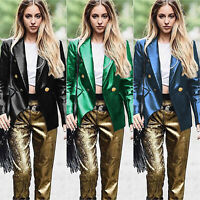 Ladies PU Leather Jumper Jacket Coat Party Casual Slim Blazer Cardigan Outwear