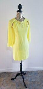 Stunning Yellow/Lemon V Neck Insert Bodycon Dress with Cape. Brand New