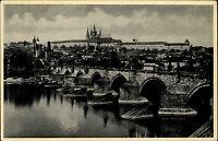 Prag Praha Tschechien s/w AK 1944 gelaufen Blick auf Karlsbrücke und Hradschin