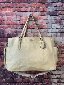 Coach Nude Patent Leather Optic Embossed Large Tote Diaper Bag F26030 MSRP 400$