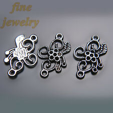 30Pcs 24mm Charms Rose Flower Pendant Tibet Silver DIY connector Spacer 7234