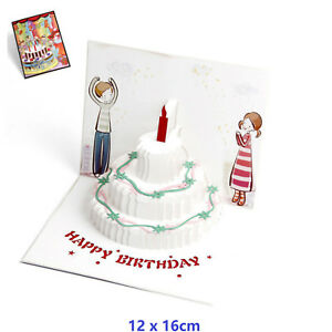 3D Pop Up Birthday Cake With Candle Greeting Birthday Card With Envelope