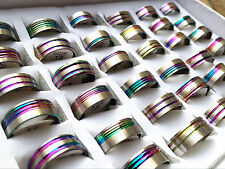 wholesale 50PCs/lot mixed styles multi-color stainless steel band jewelry rings