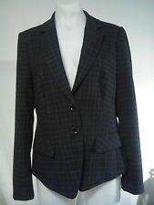 Esprit Ladies Jacket in a Charcoal Brown Blue Orange and White Check Size 12