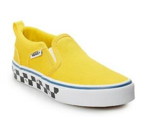 New Vans Asher Kids' Slip-On Shoes, Boy's, Size: 1 Youth, Med Yellow