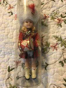 Vintage Blonde Band Drummer Girl Plastic Face Doll Red Marching Band Outfit