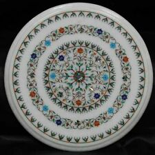 "18"" marble corner coffee table top semi precious stones inlay room decor"