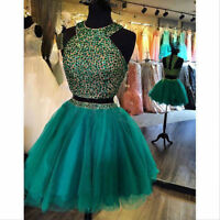 New Mini Formal Homecoming Prom Dress Short Two Piece Party Cocktail Gown Beaded