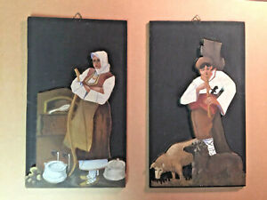 Folk Art Figures Hand Painted bas relief 19th century Black Forest