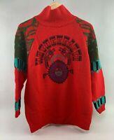 "Vintage Red Turtleneck Aztec Mother Earth""Sweater 1980's Benetton Shetland Wool"