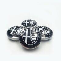 *NEW* 4x 60mm ALFA ROMEO Wheel Center Caps Logo Hub Caps Black-White 147, 159