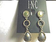 """NEW Macy's  I.N.C. Goldtone Pale Green & pale Blue Stone Triple Drop Earrings 2"""""""