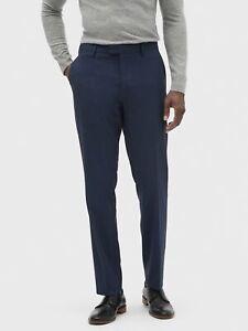 Banana Republic Men's Slim Fit Wrinkle Resistant Pants 36 x 34 NWT Navy Blue