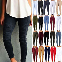 Womens High Waisted Jeans Jeggings Trousers Stretchy Ripped Skinny Pencil Pants