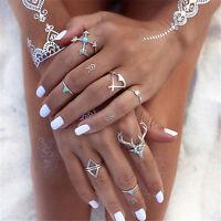 7Pcs/Set Vintage Boho Silver Stack Plain Above Knuckle Ring Midi Finger Rings