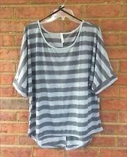 Lady's Gray Stripes Hi Lo Top Short Dolman Sleeves Size XL/1X