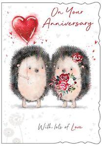 On Your Anniversary. Cute Hedgehog design Wedding Anniversary card