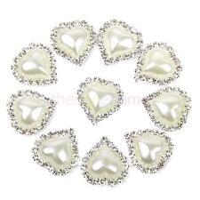 10pcs Rhinestone Diamante Button Heart Pearl Flat Back Wedding Embellishment