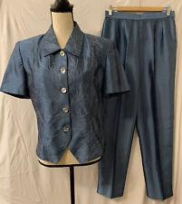 Karin Stevens Vintage Blue Embroidered Jewel Button 2 Piece Pant Suit Womens 8