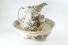 Antique Ridgway Transferware Gold Flowers Chester Pattern Basin Bowl Set