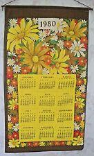 Cotton Vibrant Flowers Signed Valli 1980 Calendar Dish Towel w/Wooden Dowel