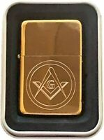 Masonic Crest Gold Petrol SOLID BRASS Star Lighter (T400) ENGRAVED FREE…