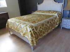 Rare Vintage Roses & Scrolls Italian Velvet Bedspread ~ So French Apartment