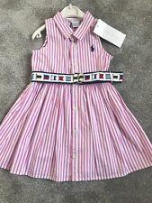 BRAND NEW BABY GIRLS DESIGNER RALPH LAUREN PINK WHITE STRIPED SHIRT DRESS 18 MNT