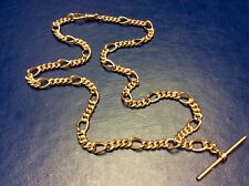 "Lovely Quality 9ct Rose Gold Figaro Link 20"" Albert Chain With T Bar 41g"