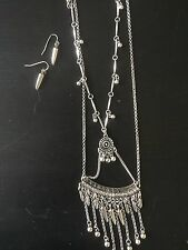 Fashion Necklace Long Pendant and Dangle Silver Fishhook Drop Earrings Set NEW