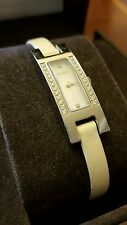 Pre-owned Women's GUCCI DIAMOND Watch White Leather Strap 3900L
