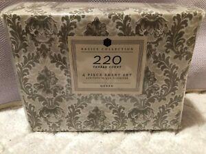 Home Beddinga Basics Collection Cream Paisley 4-pc Sheet Set Queen NWT $45