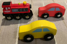Lot Of 3 Kidkraft Wooden Cars Red Yellow And Red Locomotive #15