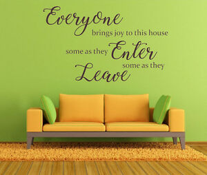 Everyone Brings Joy Quote, Home, Family, Vinyl Wall Art Sticker, Mural, Decal.