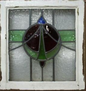 "OLD ENGLISH LEADED STAINED GLASS WINDOW Pretty Circle & Sweep 18.75"" x 19.75"""