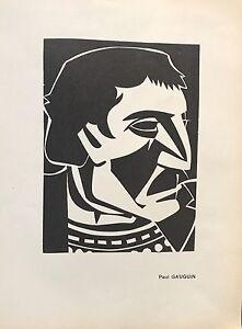 """FLOUQUET PIERRE  """"PORTRAIT DE PAUL GAUGUIN """" LINOGRAVURE ORIGINALE"""