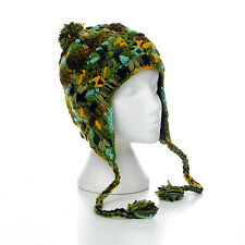 Hand Knitted Invierno Lana Crazy Flor Stitch Earflap Gorro Unisex cfeh11