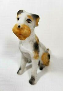 "Vintage Wire Hair Fox Terrier Dog Figurine Porcelain 4.5"""
